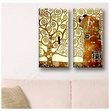 Synthetic CANVAS +GIFT Tree Of Life Gustav Klimt 2 Panels Painting Paintings