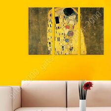 Synthetic CANVAS +GIFT The Kiss Gustav Klimt 3 Panels Wall Art Prints Giclee