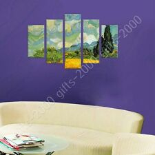 Synthetic CANVAS +GIFT Wheat Field With Cypresses Vincent Van Gogh 5 Panels
