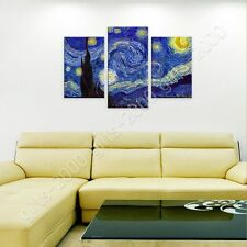 Synthetic CANVAS +GIFT Starry Night Vincent Van Gogh 3 Panels Giclee Posters