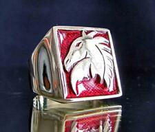 BRONZE SIGNET RING HORSE HEAD COAT OF ARMS KNIGHT MEDIEVAL DARK RED ANY SIZE