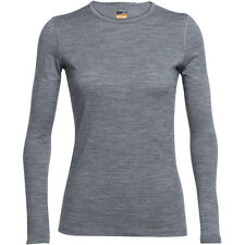 Icebreaker Oasis Crewe Ls Womens Base Layer Top - Gritstone Heather Reflective