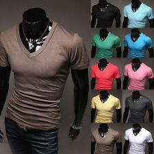 Men's Simple Slim Fit Short Sleeve V-Neck Casual Tops Tee T-Shirt Base Shirts