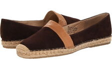 NEW Tommy Bahama Women's Vista Brown Leather Slip-On Espadrille Flats Shoes