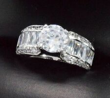 Diamond Wedding Solitaire w/ Accents Ring 2.5 ct Round Cut 14k Solid White Gold