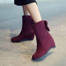 Womens Faux Suede Bowknot Hidden Wedge Heels Pull On Warm Winter Ankle Boots