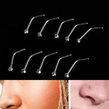 10PCS Stainless Steel Nose Body Piercing Jewelry Crystal Stud Screw Ring Ring