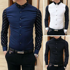 NEW Men's Fashion Stylish Casual Slim Fit Smart Long Sleeve Korean Shirt Tops L