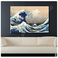 Synthetic CANVAS +GIFT The Great Wave Katsushika Hokusai Wall Decor Giclee