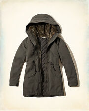 NWT Hollister-Abercrombie&Fitch Heritage Faux Fur Lined Parka Jacket Olive S/M/L