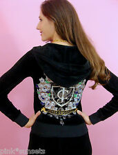 Juicy Couture Tracksuit Velour Iconic Black Hoodie Pants Set Small Track S