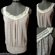 Nwt NEW TOWER Lacy Floral Top juniors S Pink Blue smocked V neck Chiffon blouse