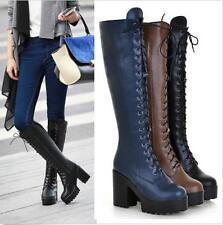 New Womens Block Heels Lace up Synthetic Leather Mid Calf Knee High Combat Boots