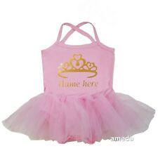 Personalized Name Baby Gold Princess Crown Light Pink Tulle Tutu Bodysuit Dress