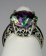 5ct Round*Mystic Topaz* Solid Sterling Silver Trellis Filigree Ring Size Any/MTO