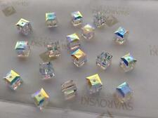 Swarovski #5601 Crystal Clear AB Cube Faceted Beads 4mm 6mm 8mm