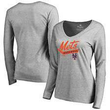 New York Mets Women's Ash Front Sweep Slim Fit Long Sleeve T-Shirt