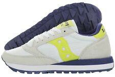 Saucony Jazz Original S1044-365 White Yellow Suede Nylon Shoes Medium Women