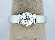 Modern Simulated Diamond .80 ct Solid 14k White Gold Engagement Ring