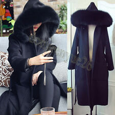 NEW Arrival Womens Black Wool Blend Outwear Trench Jacket Hooded Fur Collar Coat