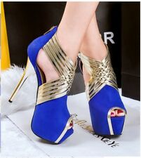 Hot Women Hollow Out Clubwear Peep Toe Stilettos High Heel Platform Zipper Shoes