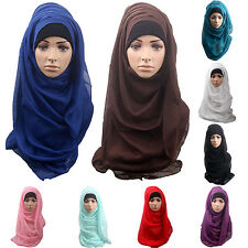 Striking Lady Cotton Muslim Islamic Ramadan Hijab Long Scarf Shawl Wrap Headwear