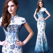 Embroidery Chinese Womens Mermaid Dress Party Prom Wedding Ball Gown Cheongsam