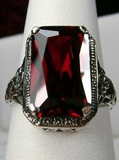 6ct *Red Garnet* Solid Sterling Silver Floral Filigree Ring Size Any/MTO