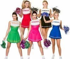 Ladies Cheerleader Outfit Fancy Dress Costume Size 6-20 + Pom Poms