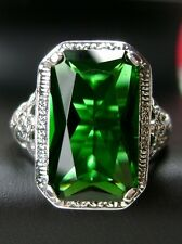 6ct *Green Emerald* Sterling Silver Nouveau Floral Filigree Ring Size: Any/MTO