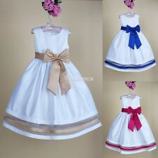One Piece Baby Kids Girl Sleeveless Party Summer Princess Dress Bowknot Clothes