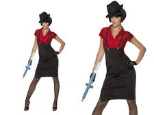 1920s Gangster Moll Ladies Mafia Gangster Fancy Dress Costume Sizes S-L