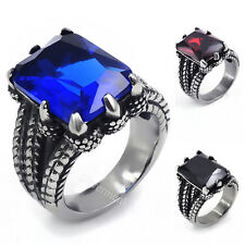 Mens Stainless Steel Ring Silver Dragon Blue/Red/Black CZ Jewelry Size 8-15