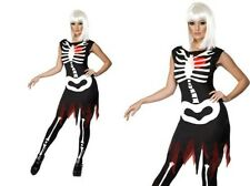 Bright Bones Skeleton Ladies Halloween Fancy Dress Costume Sizes 8-18
