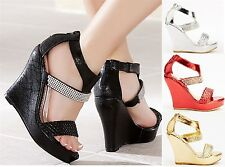 NEW WOMENS HIGH WEDGE HEEL LADIES STRAPPY EVENING PROM PARTY SHOES SANDALS SIZE