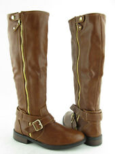 NEW Womens Dolce Vita Clarity Brown Tall Zip Up Knee High Boots RTL $109