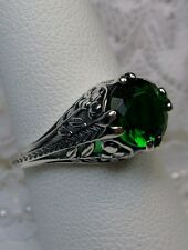 Art Deco Floral *Emerald* Sterling Silver Filigree Ring Size: {Made To Order}
