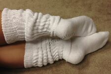 TAMARA Extra Long Knee High OTK Thick Ribbed Scrunch Slouch Socks WHITE