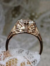 White Topaz Sterling Silver & Rose Gold Edwardian/Deco Filigree Ring Size: {MTO}