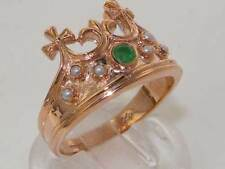 Solid 9ct Rose Gold Natural Emerald & Pearl Coronet Crown Band Ring