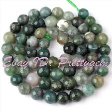 """6mm Faceted Round Shape Green Moss Agate Gemstone Spacer Loose Beads Strand 15"""""""