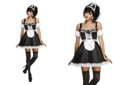 Adult Flirty French Maid Ladies Maids Fancy Dress Costume Sizes 8-18