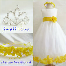 Gorgeous Ivory/yellow rosepetal wedding flower girl party dress all sizes