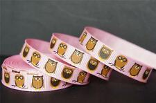 "50Yd Wholesale Cute Owl 3/8"" Pink Grosgrain Ribbon Halloween/Craft/Bow FreeShip"