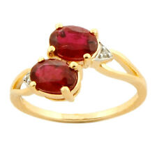 Ruby 2.25 Carat Genuine Gemstone Diamond Ring In 9kt Yellow Gold