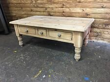 Chunky Farmhouse Coffee Table Pine Shabby Chic Cottage Rustic Drawers