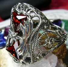 *Red Garnet* Sterling Silver 925 Victorian Floral Filigree Ring (MTO) Size Any