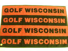 "Golf Wisconsin Towel Red/Black 26"" x 16"" w/ hook NEW"