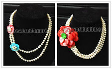 Fashion 6-7mm White Freshwater Pearl Mother-of-pearl Flower Twist Necklace