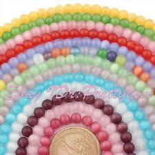 "6mm Cat Eye Smooth Round Gemstone Beads Loose Strand 15"" For DIY Jewelry Making"